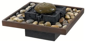 "Kenroy Home 50233 16"" Square Indoor Table Fountain with Polished River Stones fr traditional-indoor-fountains"