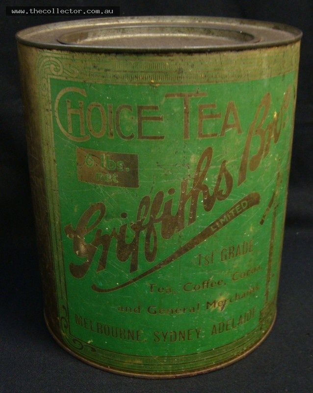 Lot 208 - Large vintage Griffiths Bros 6 pound tea tin with green label