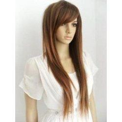 long hair with side bangs.