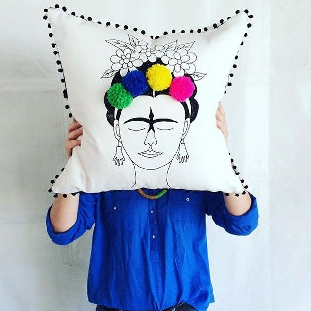 Frida cushions from @perfect_____imperfect. Check out their feed for all things bright and woven. [photo credit: @perfect_____imperfect]  PS I've been really quiet on this account lately because I've been on an impromptu roadtrip. I'm currently in Durban and will be popping in to my first ever @iheartmarket this morning. I'm so looking forward to seeing what you've got Durban! #iheartmarket #lovelocalza