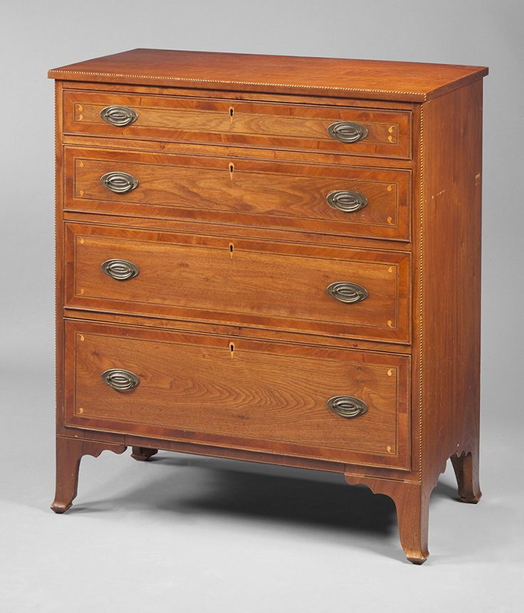 "Fig. 49: Chest of drawers by Mordecai Collins, ca. 1810, Davidson Co., NC. Walnut and cherry with yellow pine and light- and dark-wood inlay; HOA: 42"", WOA: 37"", DOA: 18-3/4"". Private collection. MESDA Object Database file D-32039. <a onclick='return hs.printImage(this)' href='#'>Print</a>"