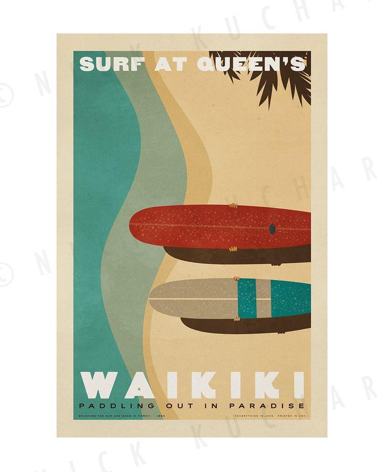 Waikiki Surf at Queen's 12x18 Retro Hawaii by EverythingIsJake