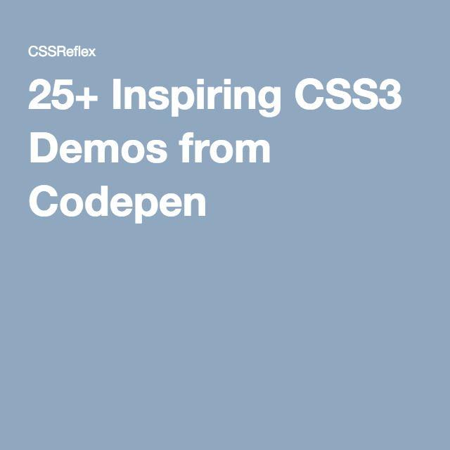 25+ Inspiring CSS3 Demos from Codepen | Webdesign | Web Design, iOS