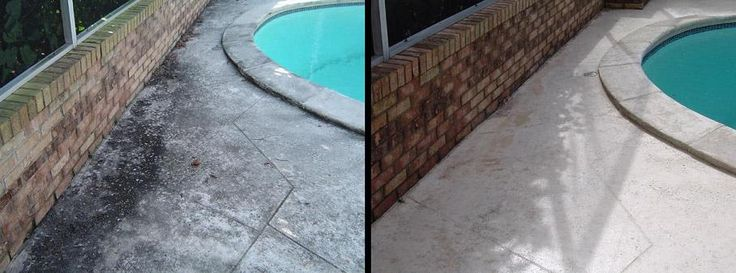 "A pool deck with a vinyl sealer such as ""Cool Deck"" tends to clean up your area quicker than standard concrete. Call us today for a FREE detailed quote. @ http://apressurewash.com/pool-deck-pressure-washing/"