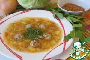 Суп гречневый с капустой и фрикадельками