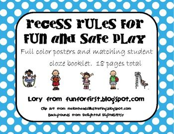 This is a colorful set of posters that cover some important recess rules in terms that children can understand. It also includes a matching cloze booklet in black/white to complete together while learning the safety rules.
