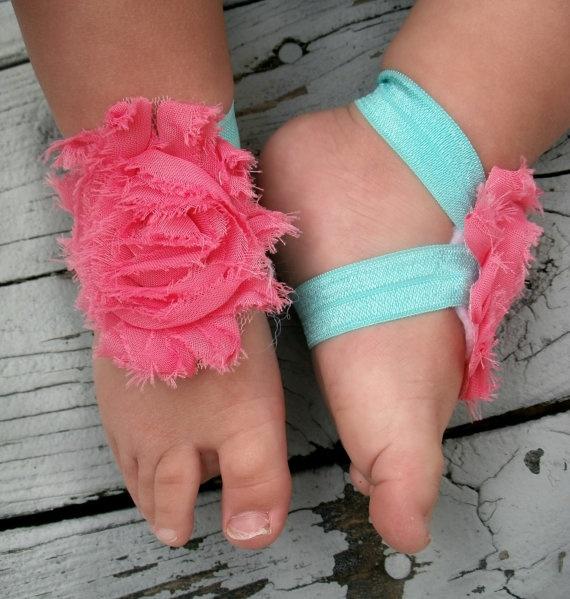 Baby Barefoot Sandals .. Coral Flowers .. Toddler Sandals .. Newborn Sandals. $6.50, via Etsy.