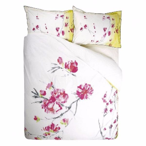 Oriental Peony Kingsize Duvet Set (£140) ❤ liked on Polyvore featuring home, bed & bath, bedding, duvet covers, king bedding, cotton duvet cover set, king duvet set, king size duvet cover sets and cotton duvet sets