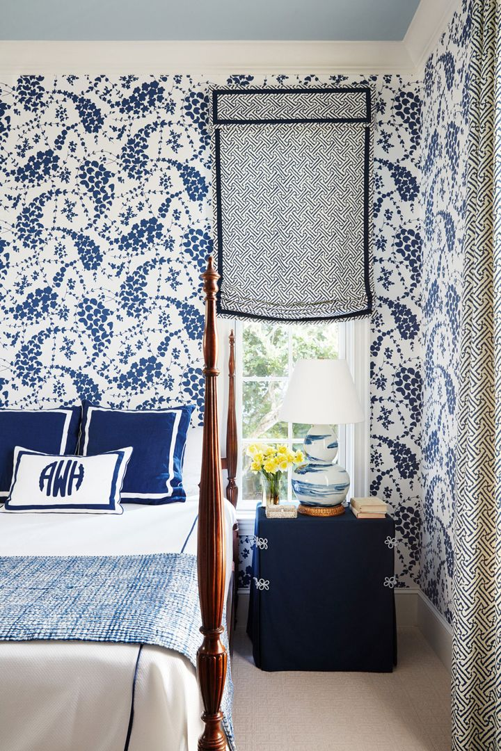 blue and white bedroom by Andrew Howard Interior Design