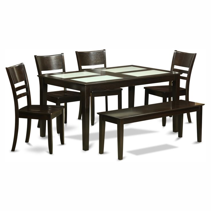 East West Furniture Capris 6 Piece Glass Top Rectangular Glass Dining Table Set with Fields Wooden Seat Chairs - CALY6G-CAP-W
