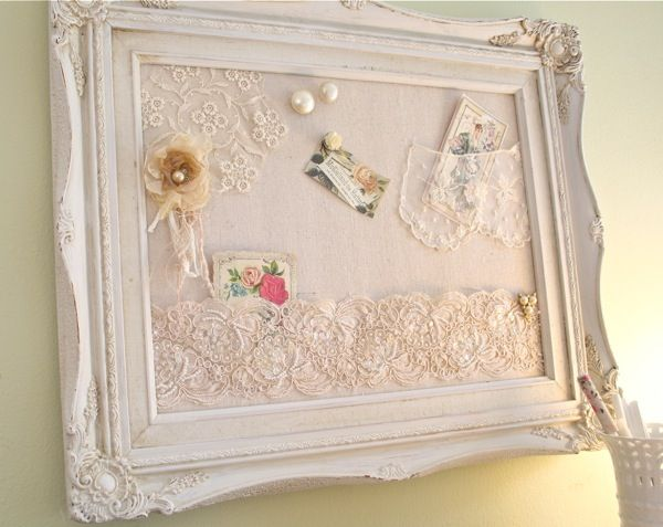 The Polka Dot Closet: Bulletin Boards With Shabby Lace Pockets