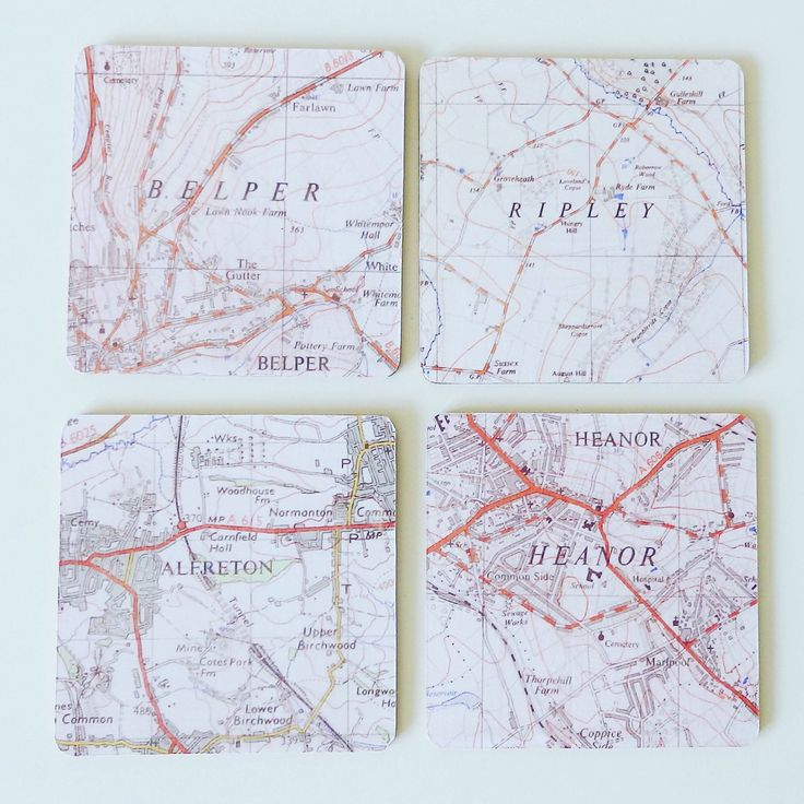 New Map Coasters featuring some locations around Amber Valley! ❤️ @etsy #map #paper #paperart #heart #travel #frame #homedecor #gift #present #handmade #wedding #anniversary #engagement #love #heart #cardiff #bespoke #home #mothersday #mum #mom #coasters