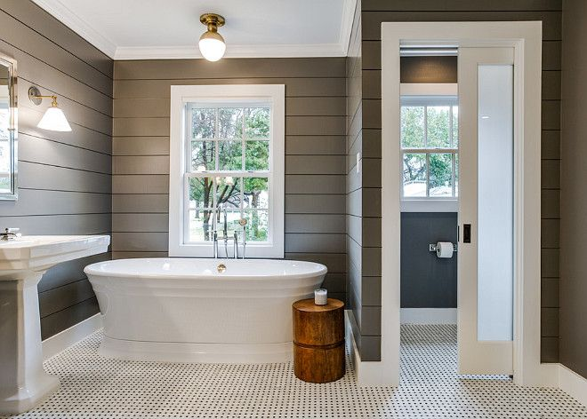 Shiplap Walls, Painted Dark Grey, White Black And White Basketweave Tiles  Love The Shiplap And Color For Accent Wall