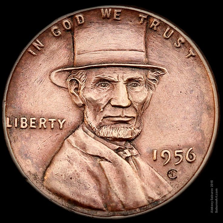 """""""Lincoln's Top Hat"""" wheat penny engraved by Aleksey Saburov."""