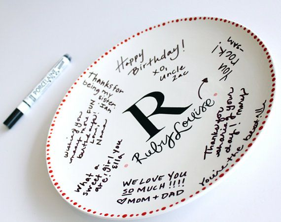 Personalized monogram plate, guest book alternative. Something functional, love that!