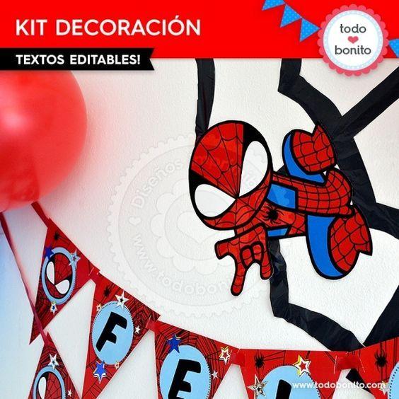 Hombre Araña: decoración de fiesta para imprimir