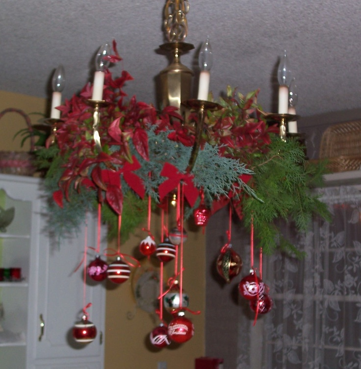 Christmas Decor Dining Table Light Evergreen Branches Nandina Leaves And Berries Vintage