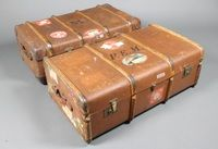 2 wooden and fibre bound cabin trunks formerly the property of Phyllis Mudford King 1905- 2006, Wimbledon Ladies Doubles Champion 1931, with Cunard Line labels SOLD FOR £70