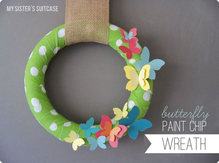 Paint Chip Butterfly Wreath {by My Sister's Suitcase}