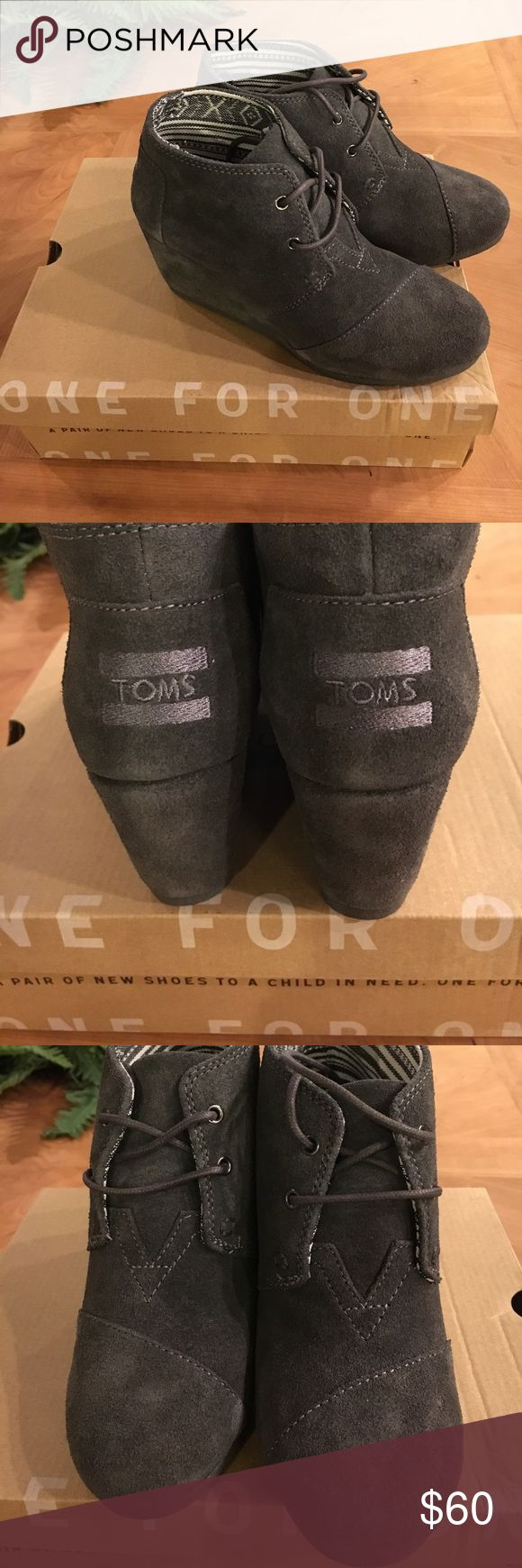 Desert New Wedge suede New with box!! Perfect gray! See one flaw where shoelace is damaged. Toms Shoes Ankle Boots & Booties
