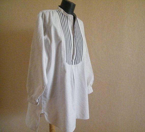 White men's tunic Hippie shirt Muslim Long Kurta Unisex