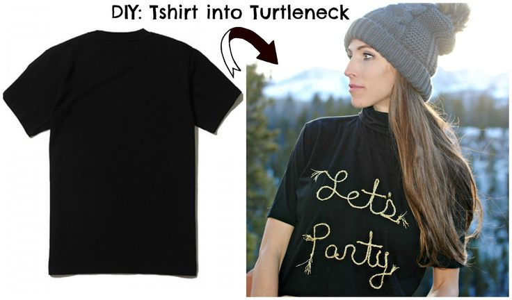 DIY: Update a basic tshirt into a cropped turtleneck by Trash to Couture