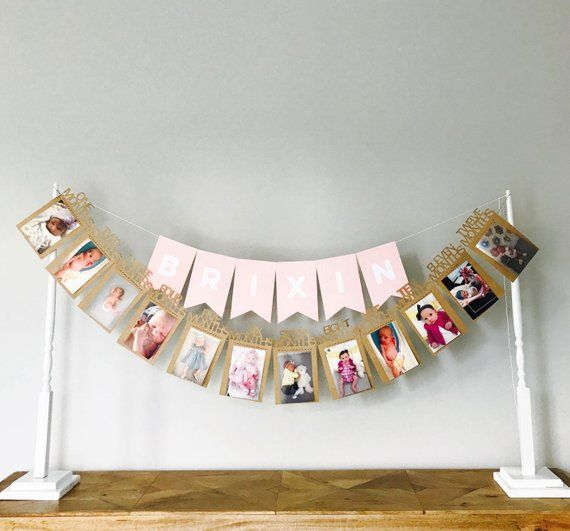 Baby Milestone Banner Monthly Baby Pictures Baby Month By Month Baby Milestones