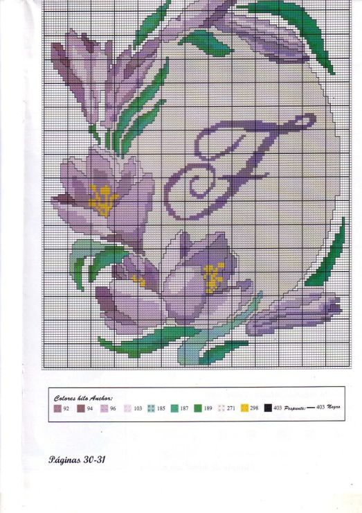 fleur - flower - crocus - point de croix - cross stitch - Blog : http://broderiemimie44.canalblog.com/