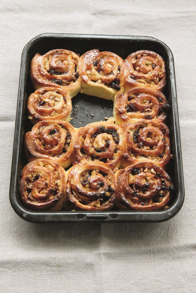 This is my take on the classic Chelsea bun, which is a perfect vehicle for the irresistible combination of apples, dried fruit, nuts and spice.
