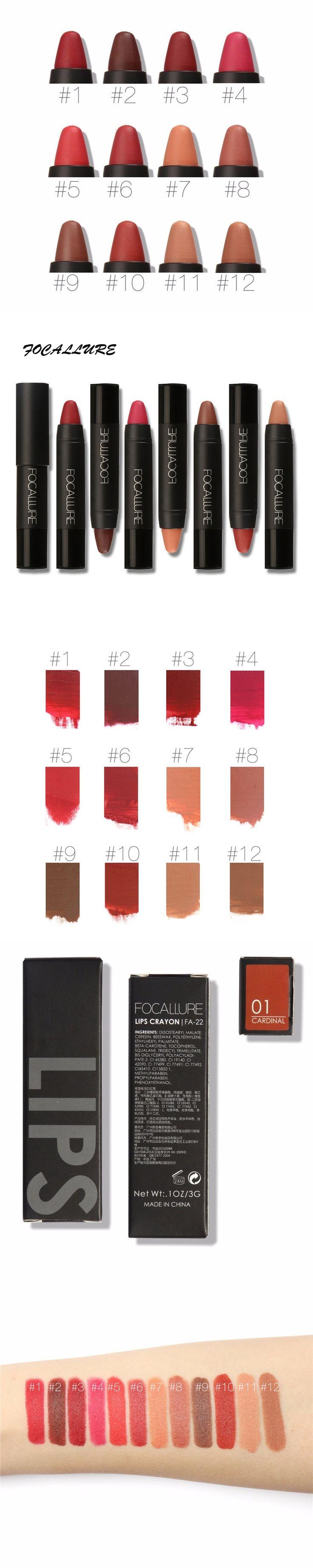FOCALLURE Cosmetics Matte Lipstick High Gloss Lip Make Up Lips Crayons 24 hours Long Lasting Nude Women Waterproof Lipsticks