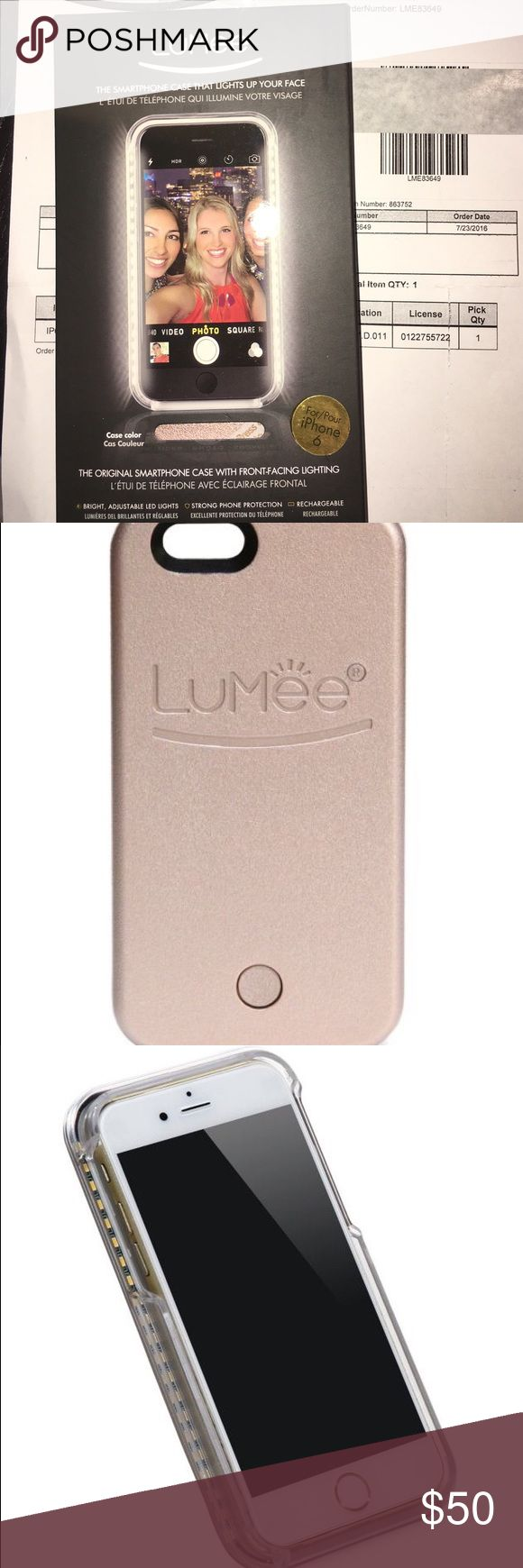 Brand new Lumee smartphone case for iPhone 6 Brand new still in the box Lumee phone case in rose. Bought this as an impulse purchase and didn't open it bc I prefer the wallet phone cases. My sister has this and it works great to take the perfect selfie! All the celebs love it! This is for an iPhone 6. Will taxes and shipping it cost $70. Selling cheap for quick sale. Make an offer  Accessories Phone Cases