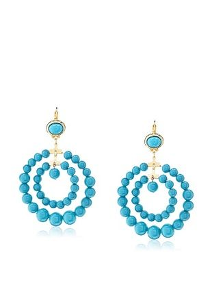 54% OFF Kenneth Jay Lane Turquoise Bead Double Circle Earrings