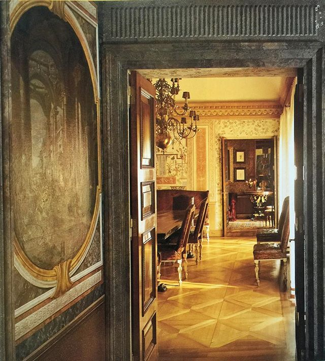 """(John Yunis)  Milanese Apartment, by Renzo Mongiardino and Roberto Peregalli, Part 4: View from Entrance Hall into Dining Room, with the Study beyond: Here, we get a closer look at the extraordinary wall painting that we saw in part one.  From the caption: """"The designer fashioned the apartment out of what had been offices in a historic late 18th century building. 'There weren't even floors or doors,' says Mongiardino. A view from the entrance hall to the dining room and study"""
