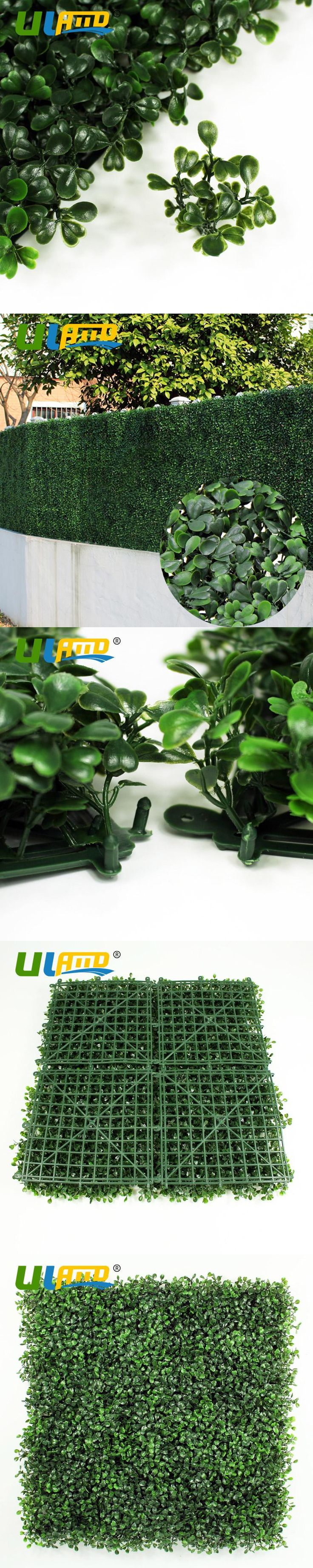 ULAND Artificial Grass Boxwood Hedge Balcony Panels Plastic Garden Fence  Greenery 12 pcs 50x50cm/pc
