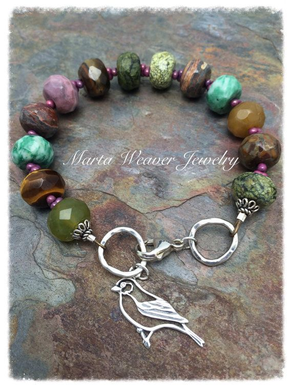Items similar to Sterling Bird with Mixed Gemstone Bracelet, Jade, Jasper, agate Rhodonite, Tigereye on Etsy
