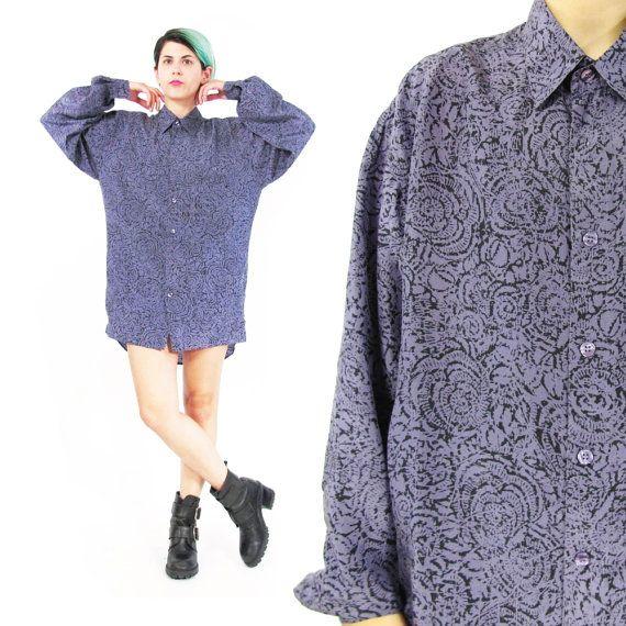 80s Mens Silk Shirt Abstract Print Silk Shirt by honeymoonmuse