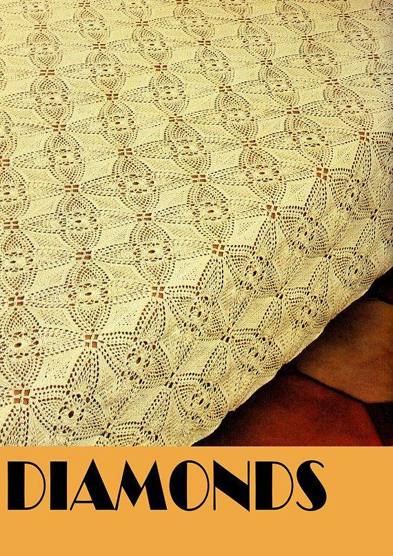 PDF Vintage 1970s DIAMOND Squares Bedspread Crochet Pattern