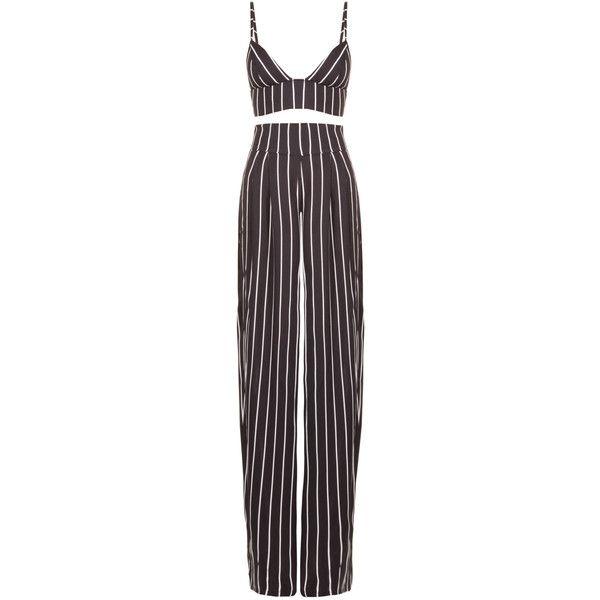Femme LA Esq Two Piece Pant Suit (£135) ❤ liked on Polyvore featuring jumpsuits, rompers, dresses, pants, set, purple romper, jump suit, two piece jumpsuit, playsuit jumpsuit and purple jumpsuit