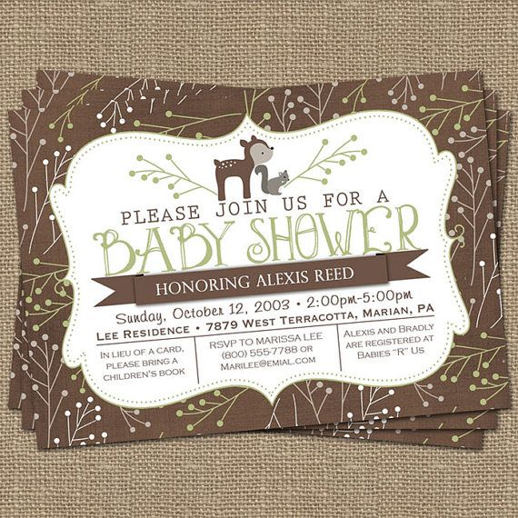 woodsy baby shower invitation