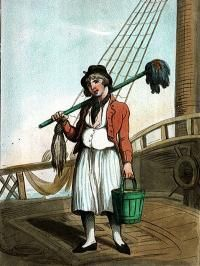 Cabin Boy, c. 1799. Ship's boys were usually aged between 12 and 16 years. Some came from poor families, others who had been convicted of petty crimes or vagrancy were recommended by magistrates. They were at the bottom of the naval hierarchy and were tasked with such menial duties as cleaning the pigsties and hen coops.