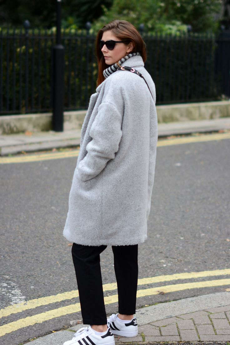 EJSTYLE – Grey primark coat, black cropped 7 8ths trousers, adidas originals superstar 2 II trainers, Autumn Winter Outfit OOTD