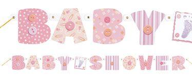Banderole de lettres pour une fête prénatale ou une baby shower.  http://partycity.eu.com/themes/teddy-baby-pink-baby-shower-party-supplies.aspx