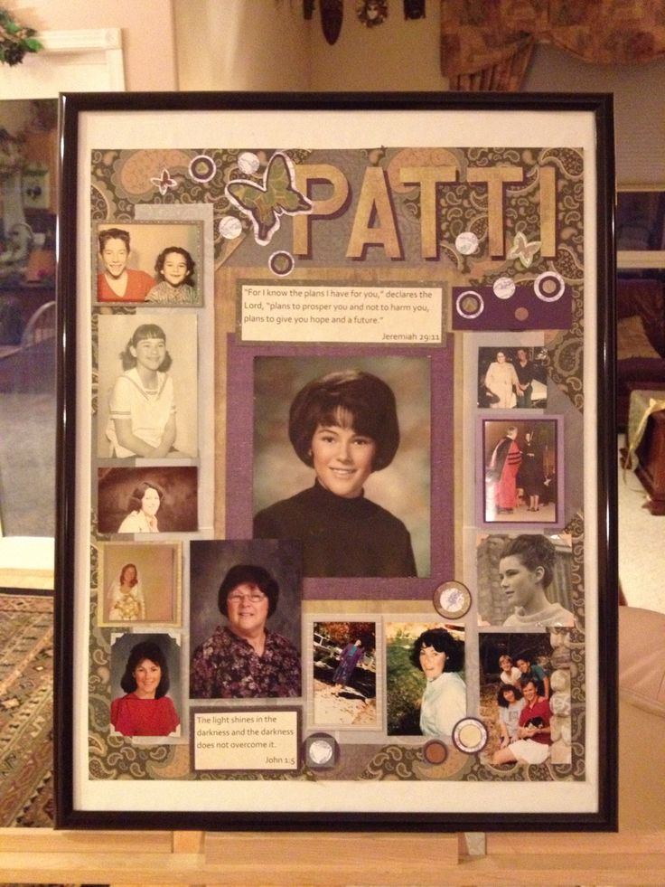 Collage idea memory boards memorial ideas pinterest for Family display board ideas