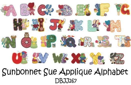 Alphabet Applique Patterns | ... Free Machine Embroidery Designs | JuJu Sunbonnet Sue Applique Alphabet