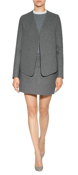 Wool-Blend Sponge Mini Skirt in Grey look detail
