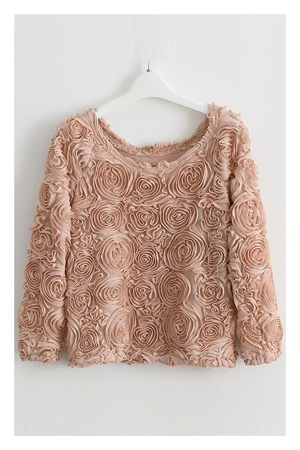 Cropped T-shirt, featuring all over rose ruffles, a wide round neckline, raglan sleeves with stretch tight cuffs, design in a cropped cut with stretch tight hem.$49