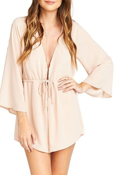 Free shipping and returns on Show Me Your Mumu Roxy Plunging Tie Waist Romper at Nordstrom.com. With a cut-to-there neckline and leg-flaunting shorts, a playful romper is all grown up. A drawstring waist defines the figure, while flowy three-quarter sleeves add an angelic look.