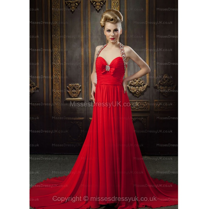 A-line Halter Chiffon Sweep Train Red Flower Cocktail Dress