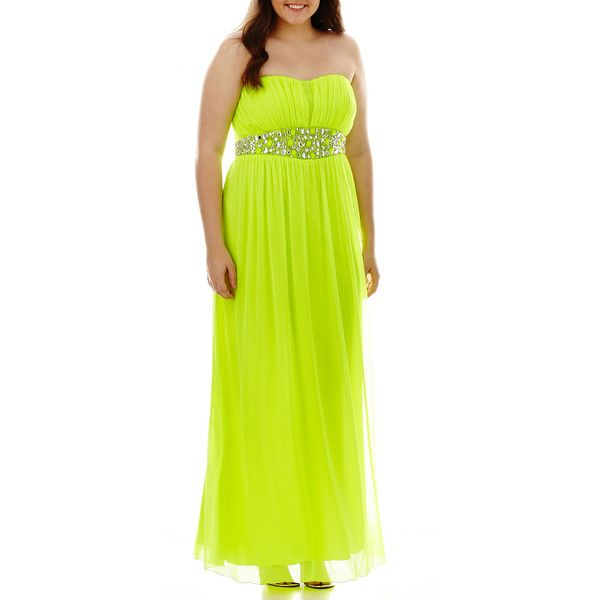Plus Size City Triangles Strapless Beaded-Waist Pleated-Bodice Dress... ($60) ❤ liked on Polyvore featuring dresses, neon lime, plus size, green party dress, green cocktail dress, plus size dresses, plus size party dresses and neon green dress