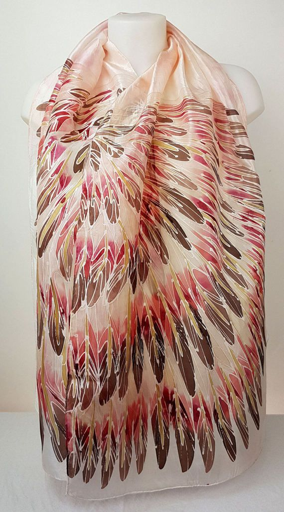 Hand painted Heron silk scarf featuring beige by HeronDesignStudio